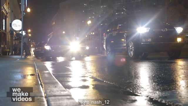 Cars driving by at night – Nashville