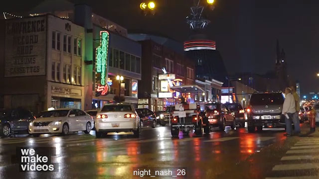 Free Video Shot –  Busy Downtown Nashville Nightlife