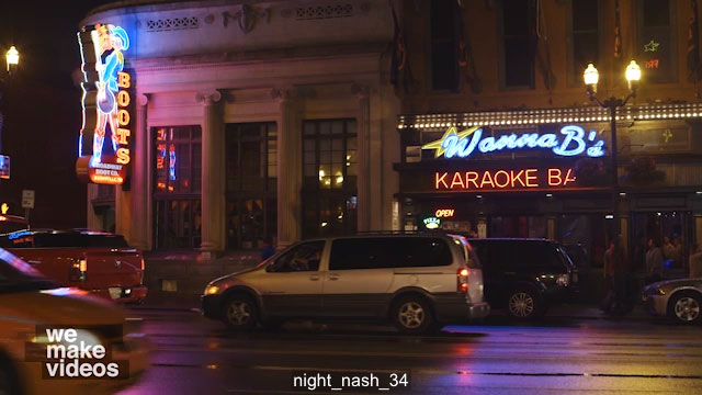 Wannabe's Karaoke Bar Exterior at Night