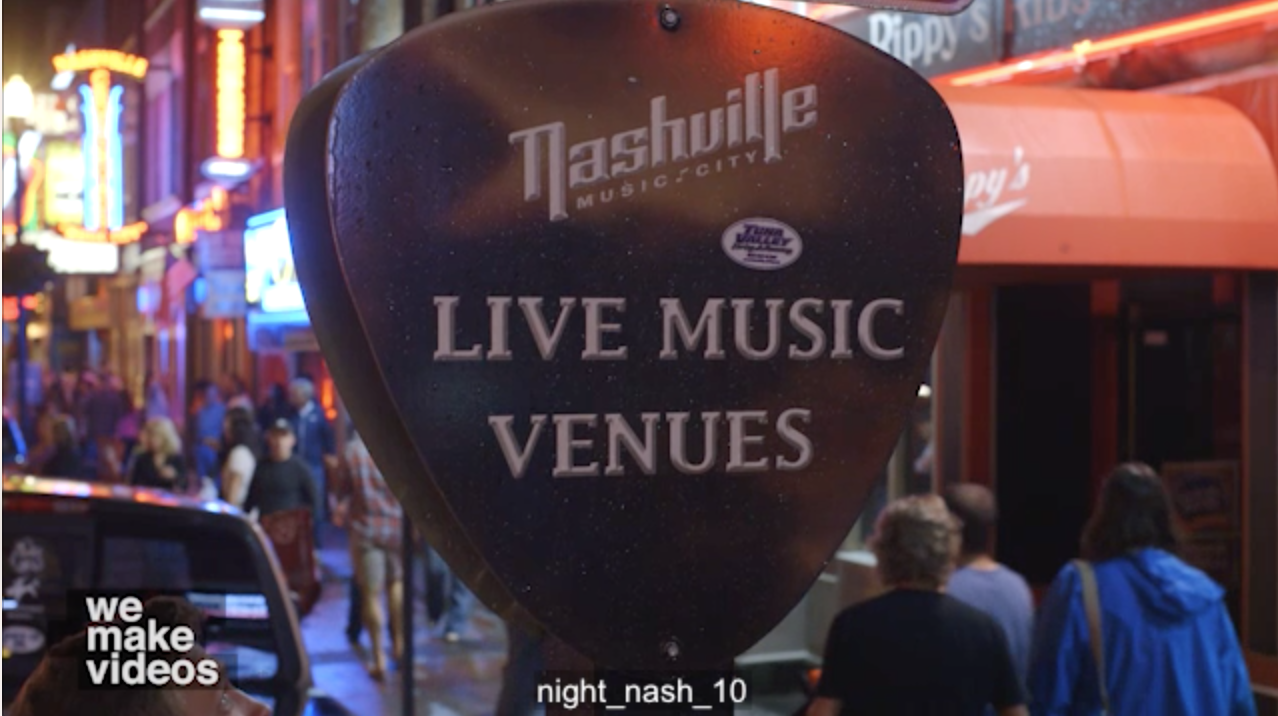 Downtown Nashville Bars Honky-Tonks Videos with Signs At Night