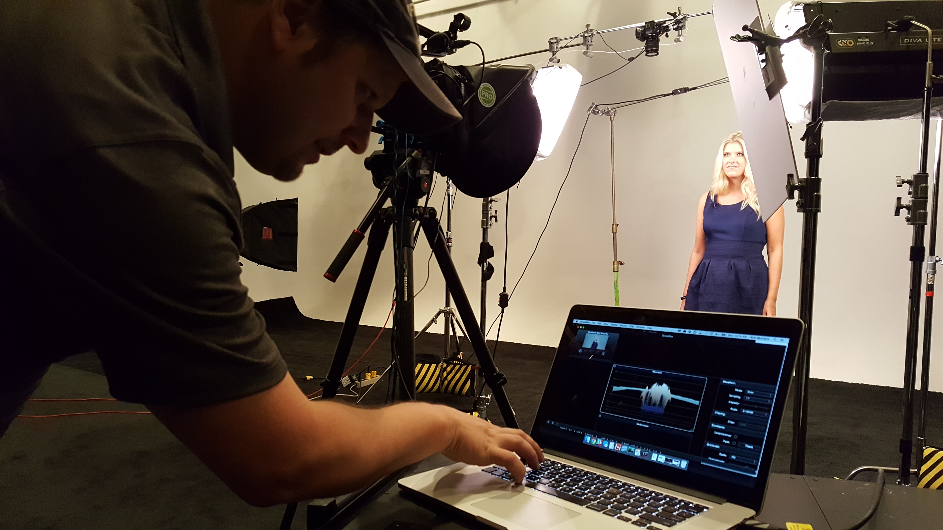 checking histogram on set - video production for business