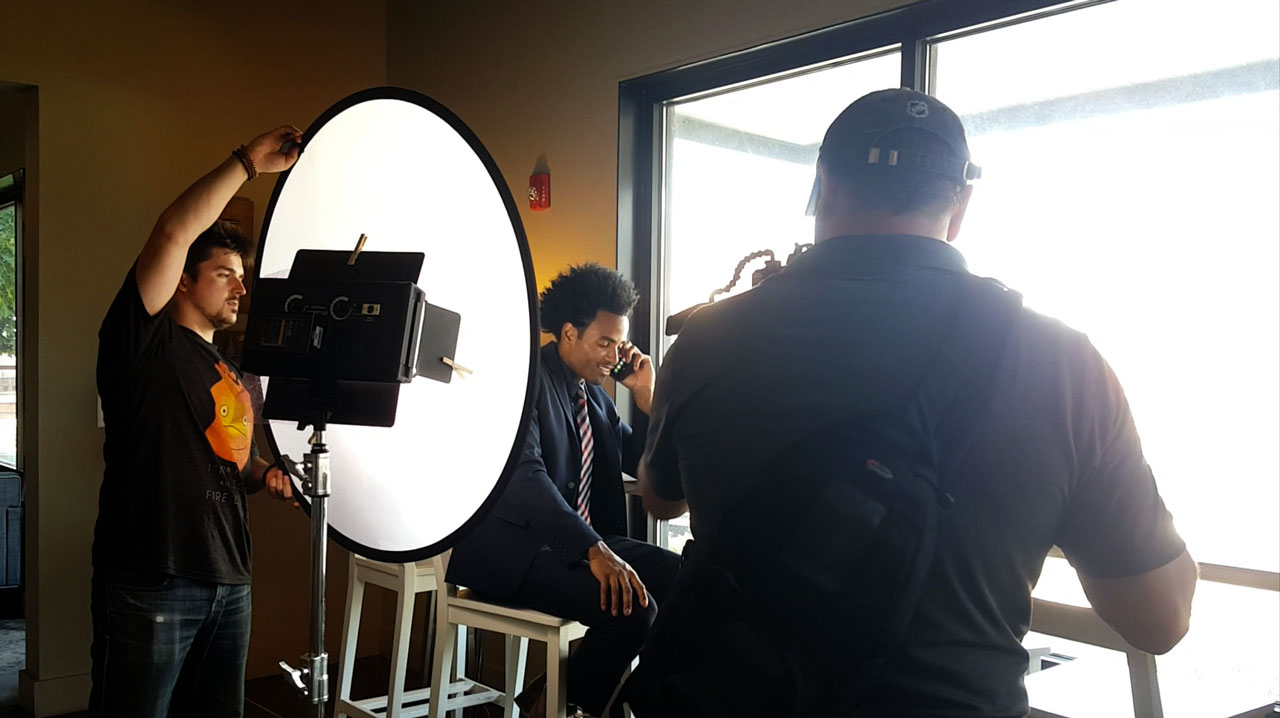 Behind the scenes of a product video shoot