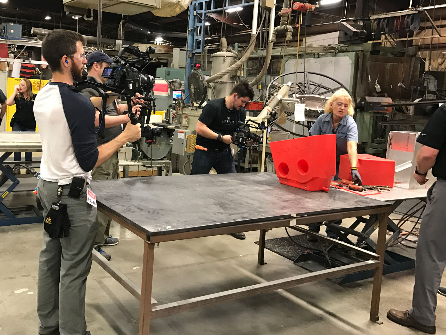 On location in factory filming a video