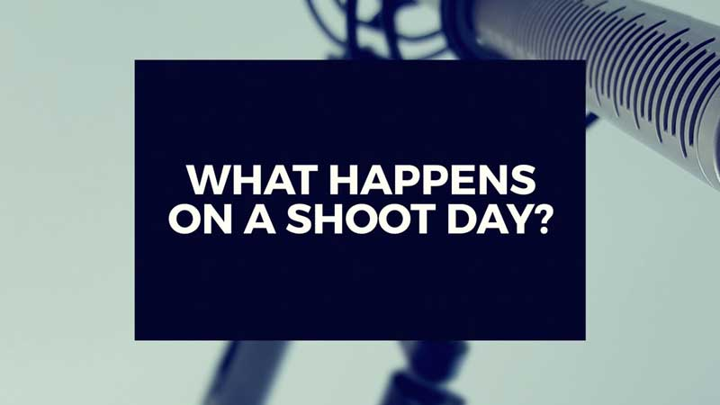 "image with text ""what happens on a video production shoot day?"" linking to answer"