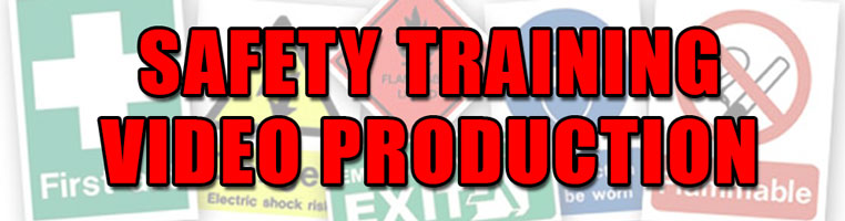 Safety training video production title with safety signs in background