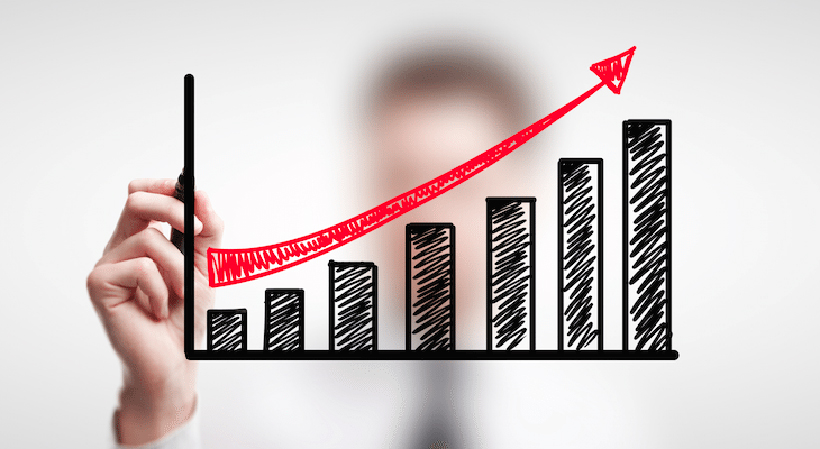 Growth chart with arrow for small business