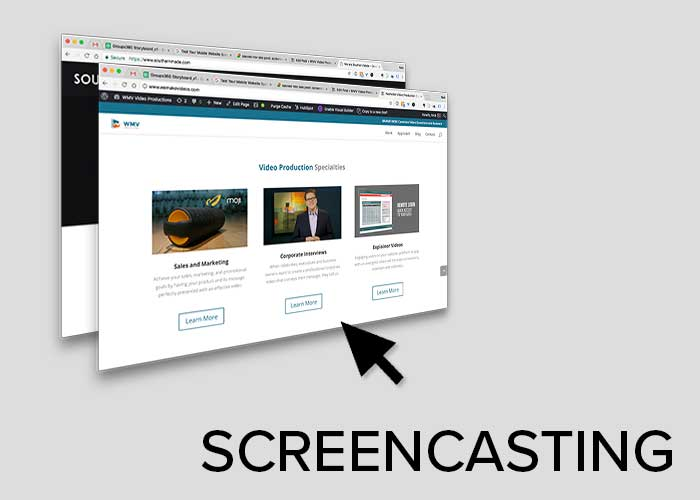 Picture of website and cursor showing of screencasting